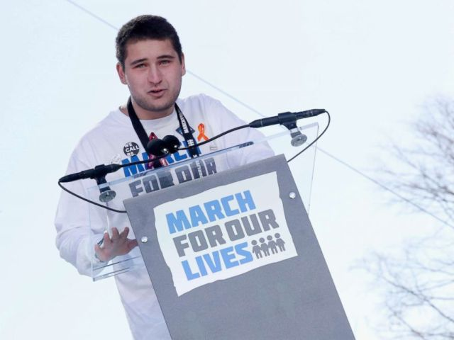 PHOTO: Marjory Stoneman Douglas High School student Alex Wind speaks onstage at March For Our Lives, March 24, 2018, in Washington, D.C.