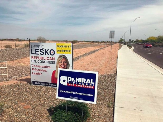 PHOTO: Signs for Congressional candidates in Surprise, Ariz., April 11, 2018.