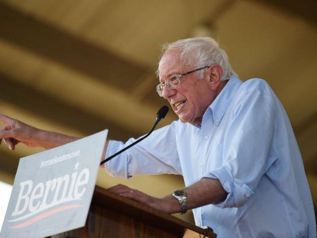 PHOTO: Democratic presidential contender Bernie Sanders addresses a Medicare for All town hall campaign event, Aug. 30, 2019, in Florence, S.C.