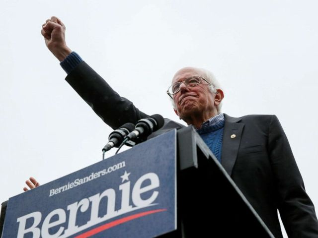 PHOTO: Democratic 2020 presidential candidate and Sen. Bernie Sanders, I-Vt., addresses his supporters during a campaign rally in Concord, N.H., Oct. 31, 2019.