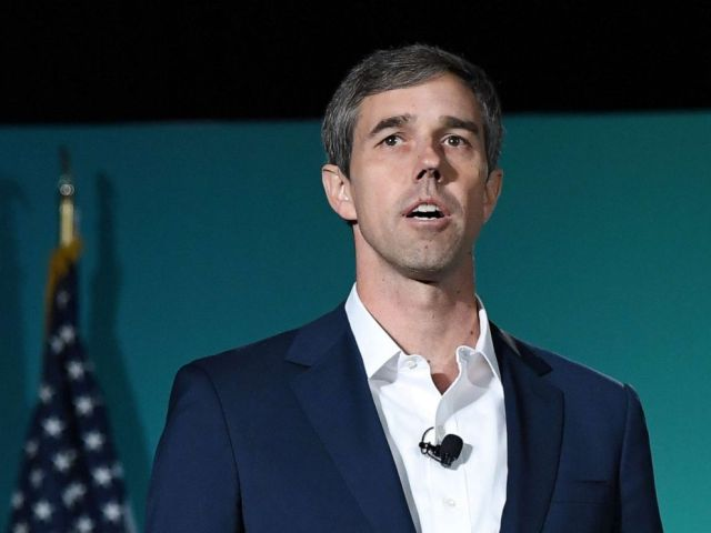 PHOTO: Democratic presidential candidate Beto ORourke speaks during the 2020 Public Service Forum hosted by the American Federation of State, County and Municipal Employees (AFSCME) at UNLV on Aug. 3, 2019 in Las Vegas.