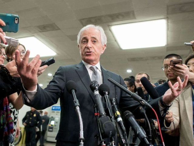 PHOTO: Senator Bob Corker speaks to members of the media following a closed briefing for US senators on Saudi Arabia in Washington, DC, Nov. 28, 2018.