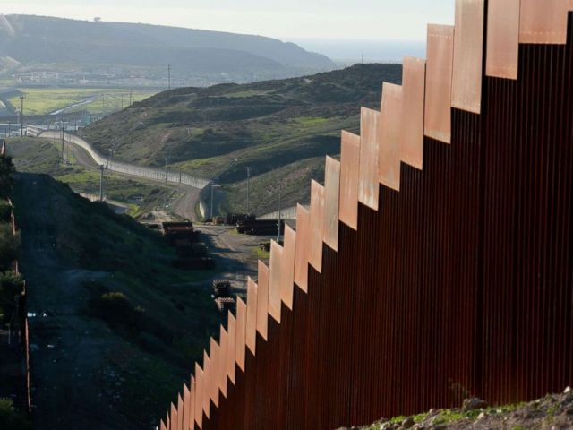 PHOTO: The U.S.-Mexico border wall along the border near Tijuana, Mexico, Jan. 7, 2019.