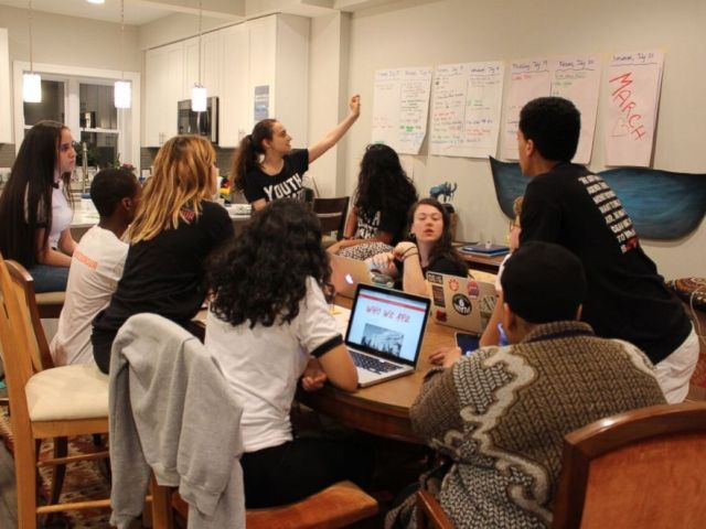 PHOTO: Youth organizers meet to plan for the This is Zero Hour climate march.
