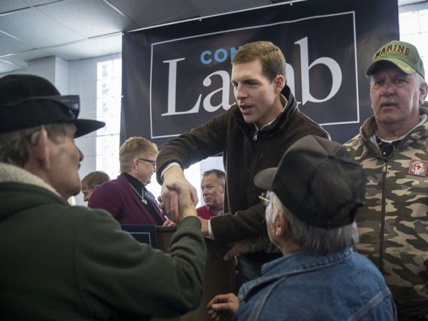 PHOTO: Conor Lamb, Democratic Congressional candidate for Pennsylvanias 18th district, greets supporters after speaking at a campaign rally with United Mine Workers of America (UMWA) at the Greene County Fairgrounds, March 11, 2018, in Waynesburg, Penn.