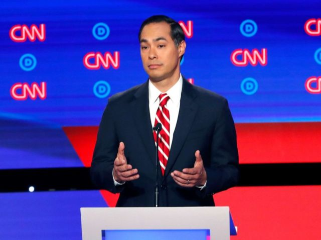 PHOTO: Former Housing the Urban Development Secretary Julian Castro participates in the second of two Democratic presidential primary debates, July 31, 2019, in Detroit.
