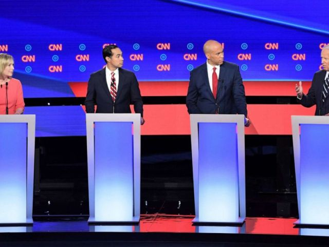 PHOTO: Democratic presidential hopefuls Sen. Kirsten Gillibrand,Julian Castro, Sen. Cory Booker and former Vice President Joe Biden speak during the second round of the second Democratic primary debate in Detroit, July 31, 2019.