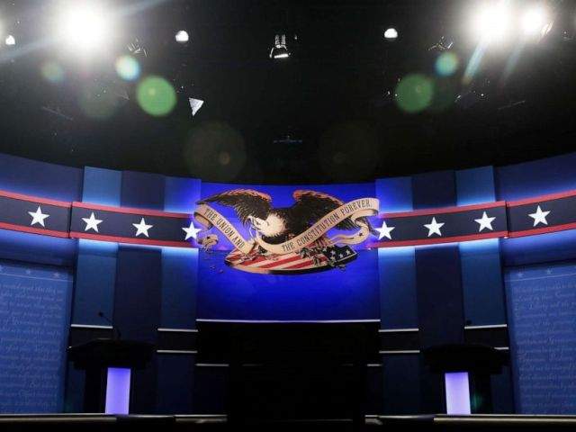 PHOTO: A general view of the stage prior to the start of the third U.S. presidential debate at the Thomas & Mack Center on Oct. 19, 2016 in Las Vegas, Nev.