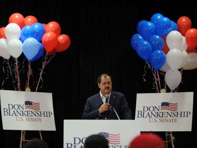 PHOTO: U.S. Senate Republican primary candidate Don Blankenship addresses supporters following a poor showing in the polls May 8, 2018 in Charleston, West Virginia.