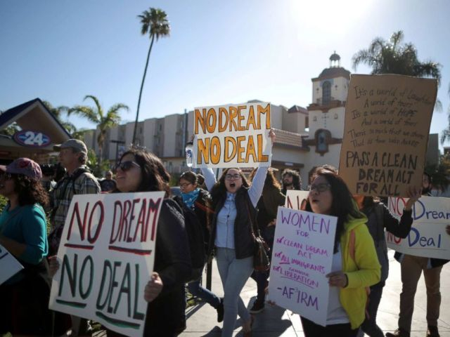 PHOTO: DACA recipients and supporters protest for a clean Dream Act outside Disneyland in Anaheim, Calif. on Jan. 22, 2018.