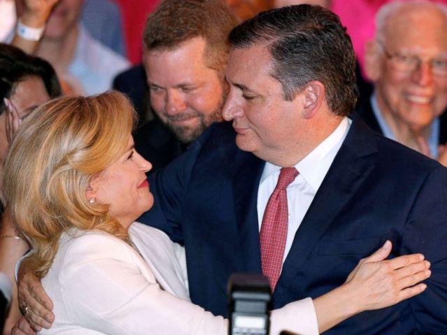 PHOTO: Republican Senator Ted Cruz hugs his wife Heidi Cruz during his election night party in Houston, Texas, Nov. 6, 2018.