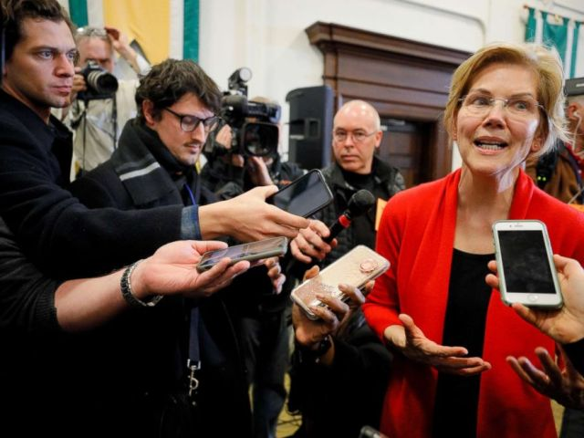 PHOTO: U.S. Senator Elizabeth Warren answers questions from reporters after speaking at Plymouth State University in Plymouth, N.H., Feb. 23, 2019.