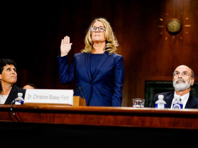 PHOTO: Christine Blasey Ford swears in at a Senate Judiciary Committee hearing on Thursday, September 27, 2018 on Capitol Hill.