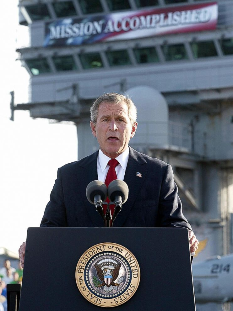President George W. Bush addresses the nation aboard the nuclear aircraft carrier USS Abraham Lincoln as it sails for Naval Air Station North Island, San Diego, Calif.