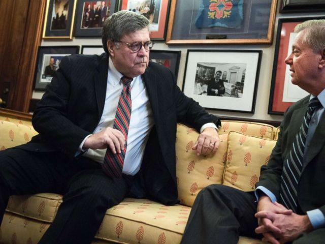 PHOTO: William Barr, left, nominee for attorney general, meets with Sen. Lindsey Graham, Jan. 9, 2019, in Washington.