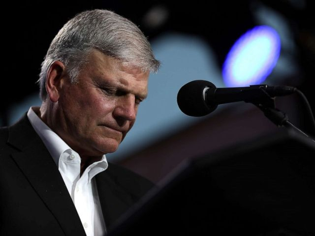 PHOTO: Rev. Franklin Graham speaks during Franklin Grahams Decision America California tour at the Stanislaus County Fairgrounds, May 29, 2018, in Turlock, Calif.