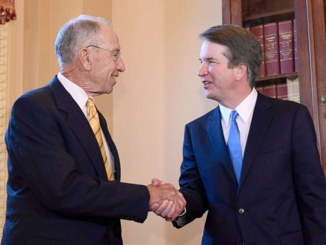 PHOTO: Senator Chuck Grassley, left, shakes hands with the President of the Supreme Court, Brett Kavanaugh, on Capitol Hill, Washington on July 10, 2018.