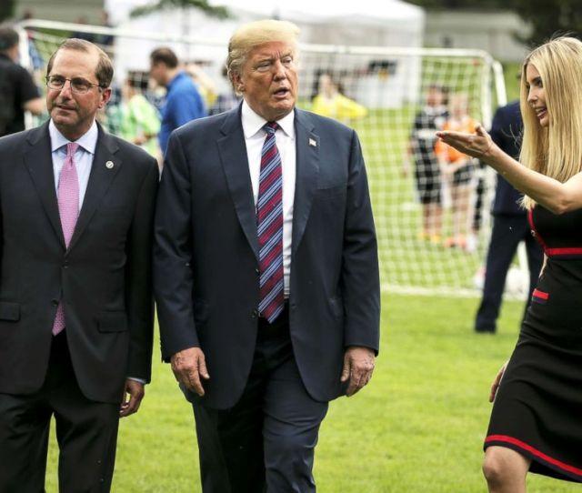 President Donald Trump Health And Human Services Secretary Alex Azar And Ivanka Trump Walk As