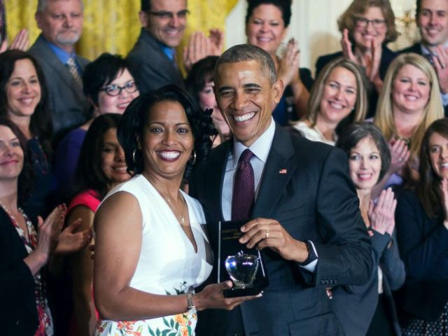 PHOTO: Jahana Hayes, left, a high school history teacher from Waterbury, CT, celebrates winning the 2016 National Teacher of the Year with President Barack Obama at the White House in Washington, May 3, 2016.