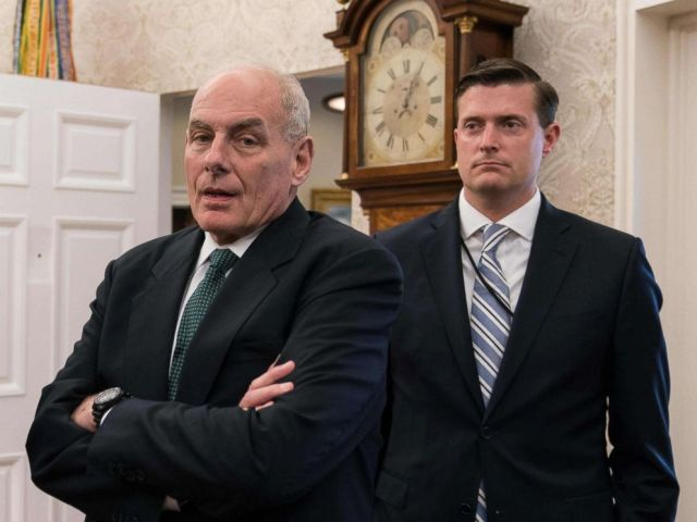 PHOTO: White House chief of staff John Kelly, shown with White House staff secretary Rob Porter look on after President Donald Trump signed a proclamation calling for a national day of prayer for those affected by Hurricane Harvey, Sept. 1, 2017.