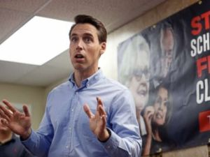 PHOTO: In this Sept. 27, 2018 file photo, Missouri Attorney General and Republican U.S. Senate candidate Josh Hawley speaks to supporters during a campaign stop in St. Charles, Mo.