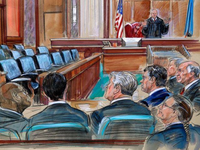 PHOTO: This courtroom sketch depicts U.S. District court Judge T.S. Ellis III speaking to the lawyers and defendant Paul Manafort.