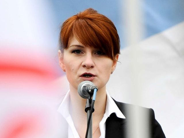 PHOTO: Maria Butina, leader of a pro-gun organization in Russia, speaks to a crowd during a rally in support of legalizing the possession of handguns in Moscow, April 21, 2013.