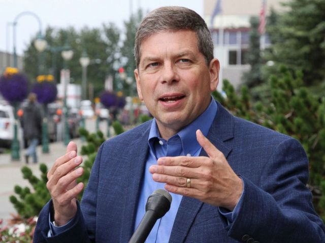 PHOTO: This July 27, 2017, photo shows Mark Begich, a Democrat running for Alaska governor, speaking at a news conference in Anchorage, Alaska. Begich, a former U.S. senator, is unopposed in the Aug. 21, 2018, Democratic primary.