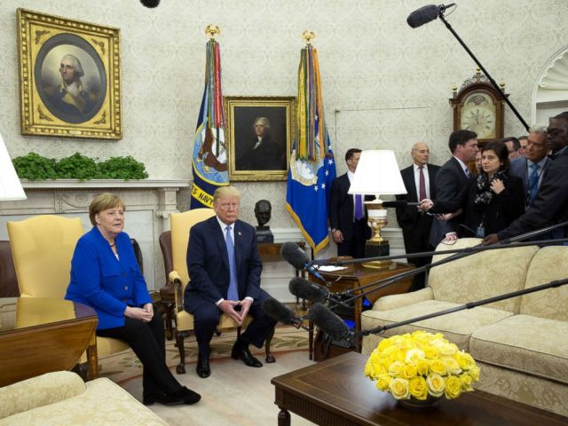 Chancellor Angela Merkel of Germany and President Donald Trump meet in the Oval Office of the White House, April 27, 2018.