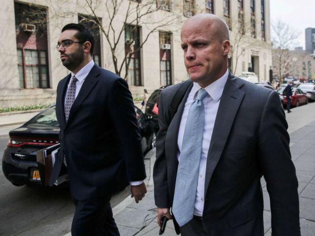 PHOTO: Michael Cohens attorneys Joseph Evans and Todd Harrison leave the Manhattan Federal Court in New York, April 13, 2018.