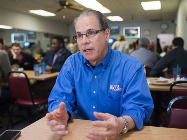 PHOTO: Mike Braun, who is running for the Republican nomination for Senate in Indiana, is interviewed in Bekahs Westside Cafe in Lebanon, Ind., April 4, 2018.