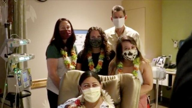 PHOTO: Dr. Glenn and the team of nurses visited with Lavi Mounga and Raymond at Kapi'olani Medical Center, May 1, 2021.