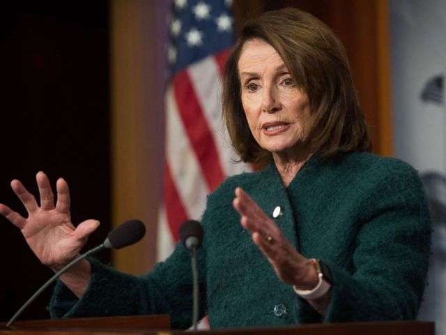 PHOTO: House Democratic Leader Nancy Pelosi speaks about the Omnibus budget deal during a press conference at the US Capitol in Washington, DC, March 22, 2018.