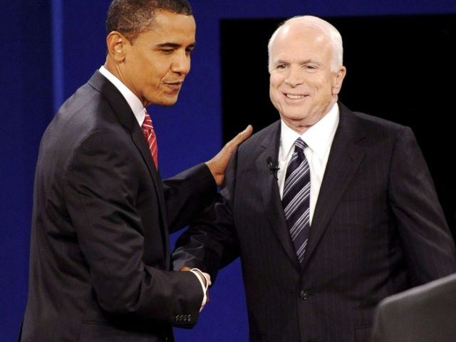 PHOTO: Republican presidential candidate John McCain and democratic presidential candidate Barack Obama greet each other at the start of the final presidential debate in Hempstead, New York, Oct. 15, 2008.