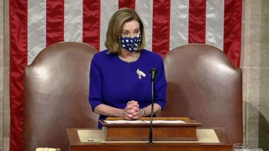 PHOTO: Speaker of the House Nancy Pelosi speaks in the House Chamber during a reconvening of a joint session of Congress, Jan. 6, 2021, in Washington, D.C.