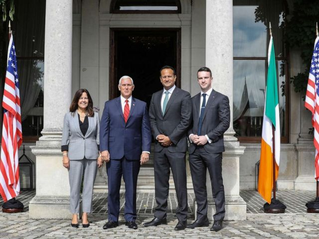 PHOTO: Vice-President Mike Pence and his wife Karen Pence pose for a photo with Irish Taoiseach (Prime Minister) Leo Varadkar and his partner Dr.Matt Barrett in Dublin, Ireland, September 3, 2019.