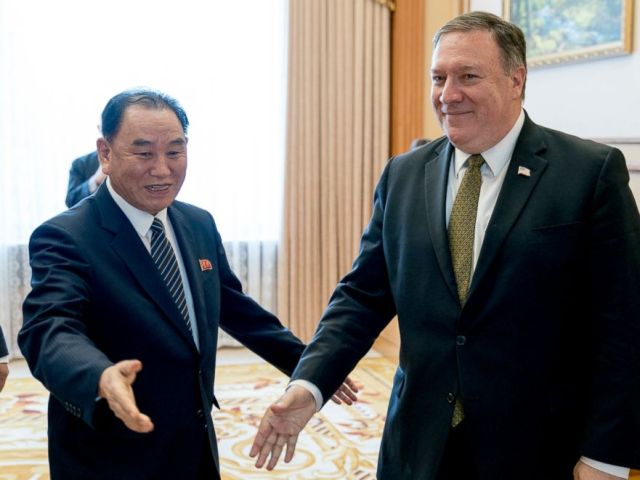 PHOTO: Secretary of State Mike Pompeo, right, and Kim Yong Chol, a North Korean senior ruling party official and former intelligence chief, arrive for a lunch at the Park Hwa Guest House in Pyongyang, North Korea, July 7, 2018.