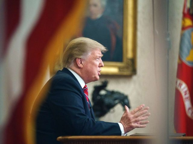 PHOTO: President Donald Trump gives a prime-time address about border security, Jan. 8, 2018, at the White House in Washington.