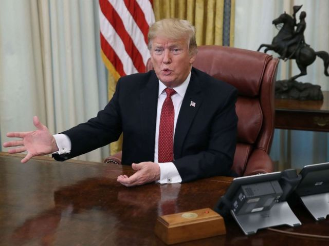 PHOTO: President Donald Trump speaks during a meeting in the Oval Office at the White House, Jan. 31, 2019.