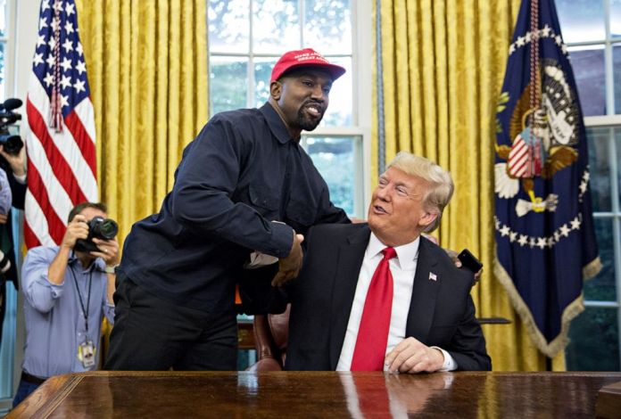 PHOTO: Rapper Kanye West shakes hands with President Donald Trump during a meeting in the Oval Office of the White House, Oct. 11, 2018.