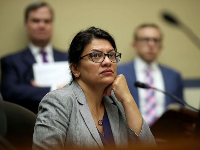 PHOTO: Rep. Rashida Tlaib listens as acting Homeland Security Secretary Kevin McAleenan testifies before the House Oversight and Reform Committee on July 18, 2019 in Washington, DC.