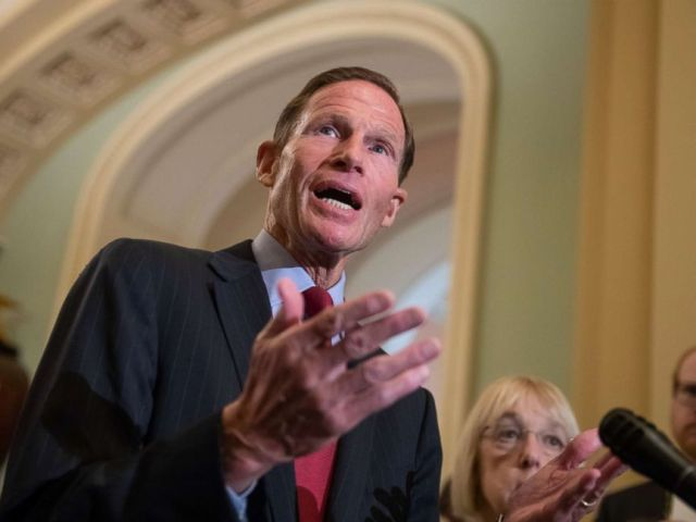 PHOTO: Sen. Richard Blumenthal speaks with reporters about Supreme Court nominee Brett Kavanaugh following a Democratic weekly policy meeting, at the Capitol in Washington, Sept. 18, 2018.