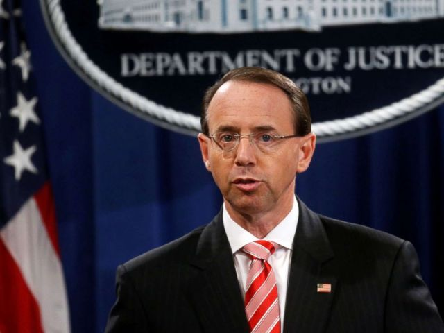 PHOTO: Deputy Attorney General Rod Rosenstein announces grand jury indictments of 12 Russian intelligence officers in Robert Muellers Russia investigation, during a news conference at the Justice Department in Washington, D.C., July 13, 2018.