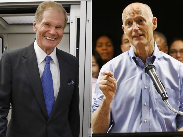 PHOTO: Sen. Bill Nelson, D-Fla., exits the Senate subway en route to a vote on Capitol Hill, June 20, 2018. Florida Gov. Rick Scott, center, speaks during a news conference, Aug. 22, 2018, in Fort Lauderdale, Fla.
