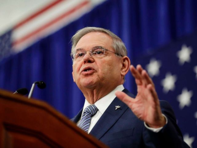 PHOTO: Sen. Bob Menendez, D-N.J., speaks during an event kicking off his campaign for re-election at Union City High School in Union City, N.J. on March 28, 2018.