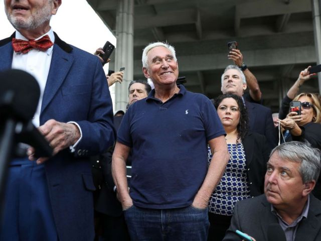 PHOTO: Roger Stone, a former advisor to President Donald Trump, waits to speak to the media after exiting the Federal Courthouse, Jan. 25, 2019 in Fort Lauderdale, Fla.