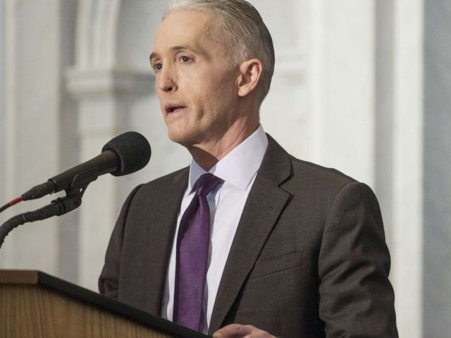 PHOTO: Representative Trey Gowdy delivers a farewell address at the Library of Congress in Washington, D.C., Dec. 19, 2018.