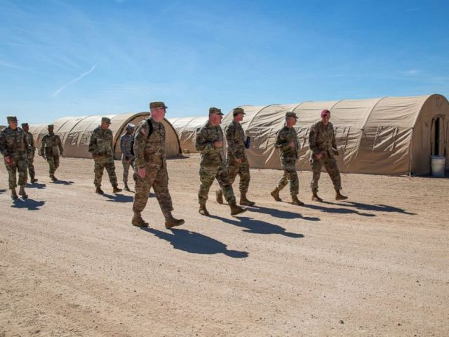 PHOTO: Commanders of the US Army tour the Sunglow tent city at Davis-Monthan Air Force Base, Ariz., November 4, 2018.