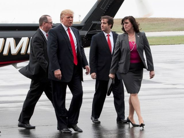 PHOTO: Donald Trump arrives in Portsmouth, New Hampshire, alongside his legal team, April 27, 2011.