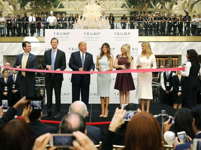 PHOTO: Republican presidential nominee Donald Trump and his family (L-R) son Donald Trump Jr, son Eric Trummp, wife Melania Trump and daughters Tiffany Trump and Ivanka Trump at the new Trump International Hotel, Oct. 26, 2016, in Washington, DC.
